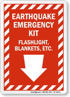 Earthquake Emergency Kit Down Arrow Sign