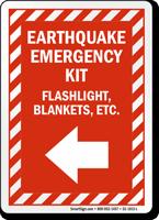 Earthquake Emergency Kit Left Arrow Sign