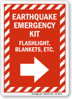 Earthquake Emergency Kit Right Arrow Sign