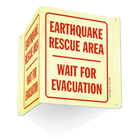 Earthquake Rescue Area Evacuation Projecting Sign