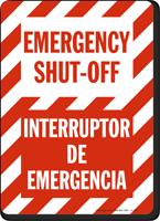 Bilingual Emergency Shut-Off Interruptor De Emergencia Sign