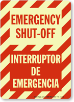 Bilingual Emergency Shut-Off Glow Sign