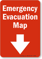 Emergency Evacuation Map With Arrow Sign