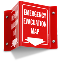 Emergency Evacuation Map Projecting Sign