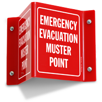 Emergency Evacuation Muster Point Projecting Sign