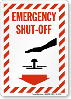 Emergency Shut Off Stripped Border Sign