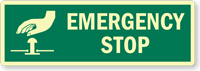 Emergency Stop Glow Electrical Safety Label