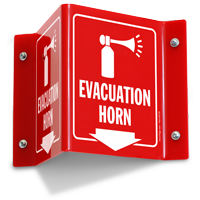 Evacuation Horn Projecting Sign