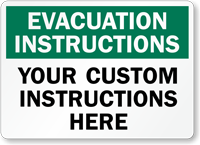 Custom Evacuation Instructions Sign