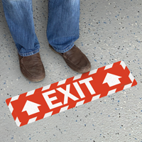 Exit with Arrow Floor Sign