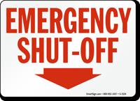 Emergency Shut Off Sign