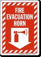 Fire Evacuation Horn Down Arrow Sign