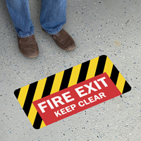 Fire Exit Keep Clear SlipSafe Floor Sign
