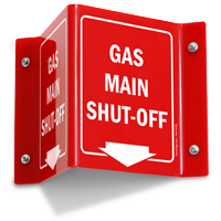 Gas Main Shut Off Projecting Sign