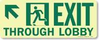 GlowSmart™ Directional Exit Sign, Through Lobby Sign