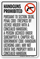 Handguns Prohibited Sign, Texas Section 30.06
