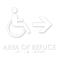 Handicap Area Of Refuge Right Arrow Braille Sign