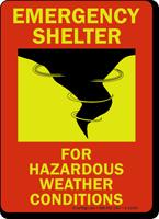 Emergency Shelter For Hazardous Weather Glow Sign