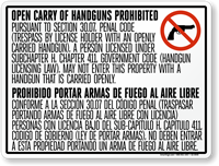 Horizontal Bilingual No Open Carry Sign for Texas