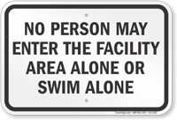 Kentucky No Person Swim Alone Sign