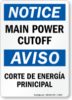 Main Power Cutoff Bilingual Sign