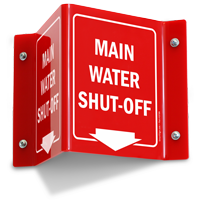Main Water Shut Off Projecting Sign