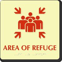 Area Of Refuge Assembly Point Symbol Braille Sign