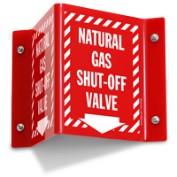 Natural Gas Shut Off Valve Projecting Sign