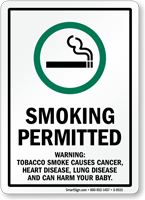 Smoking Permitted Warning Sign