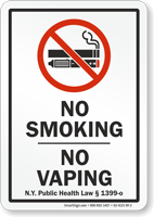 New York No Smoking No Vaping Sign