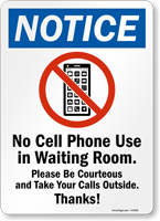 No Cell Phone Use In Waiting Room Sign