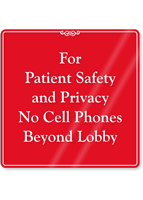 No Cell Phones Beyond Lobby Showcase Sign