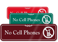 No Cell Phones Engraved Sign