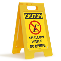 Shallow Water No Diving Caution Standing Floor Sign