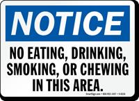 No Eating Drinking Smoking Sign