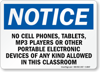 No Cell Phones Electronic Device Allowed Classroom Sign