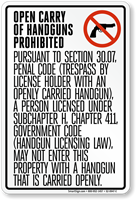 Open Carry of Handguns Prohibited Texas Sign