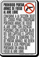Spanish Open Carry of Handguns Prohibited Sign, Texas