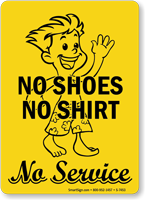 No Shirt & No Shoes Sign (with Graphic)