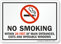 No Smoking Within 100 Feet Entrances, Exits Sign