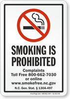 North Carolina Smoking Is Prohibited No Smoking Sign