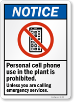 Personal Cell Phone Use Prohibited Sign