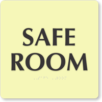Safe Room Braille Sign