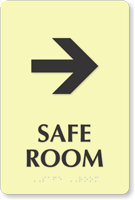 Safe Room Right Arrow Braille Sign
