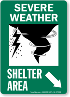 Severe Weather Shelter Area Down Right Arrow Sign