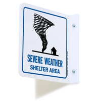 2 Sided Projecting Severe Weather Shelter Area Sign