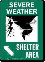Severe Weather Shelter Area Upper Left Arrow Sign