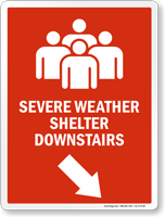 Severe Weather Shelter Downstairs Right Down Arrow Sign