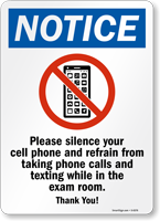 Silence Your Cell Phone Exam Room Sign