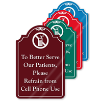 Refrain From Cell Phone Use ShowCase Sign